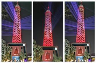 برج القاهرة يتزين باللون الأحمر احتفالًا بوصول مسبار الأمل إلى المريخ   صور