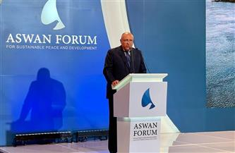شكري أمام منتدى أسوان: نسعى لإحلال مفهوم السلام والتنمية المستدامين | صور
