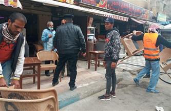 حملة لإزالة إشغالات الطريق في 4 شوارع رئيسية بمدينة مطروح | صور