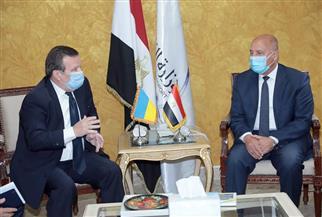 كامل الوزير يبحث مع السفير الأوكراني بالقاهرة تطوير النقل النهري | صور