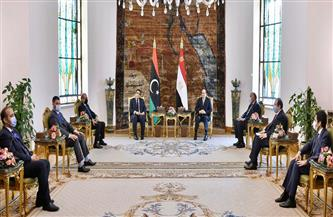 تفاصيل استقبال الرئيس السيسي لرئيس المجلس الرئاسي الليبي  صور