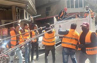 وحدة الإزالة الفورية بالإسكندرية توقف البناء المخالف بعقارين بالمنتزه | صور