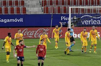 برشلونة يتقدم على أوساسونا بهدف نظيف لألبا في الشوط الأول