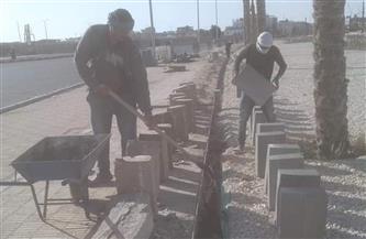 استمرار أعمال التطوير ورفع كفاءة الطرق بشوارع الغردقة | صور