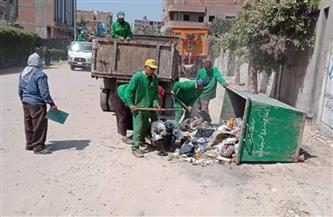 رفع 35 طن قمامة فى حملة نظافة بمدينة الباجور بالمنوفية | صور
