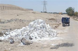 إزالة تعد على طريق المحمية في قرية الشغب بإسنا|صور