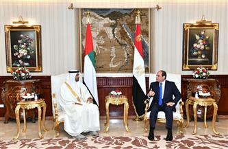 تفاصيل استقبال ومباحثات الرئيس السيسي وولى عهد أبو ظبي | صور