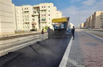 بدء أعمال الطبقة الأسفلتية بالطريق الرابط بين المنطقة الصناعية ومحور 30 يونيو في بورسعيد | صور