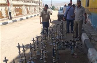 إعدام 143 شيشة تم التحفظ عليها خلال الحملات بمركز المراغة   صور