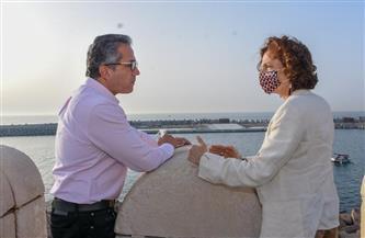 العناني ومحافظ الإسكندرية ومدير عام منظمة اليونسكو يزورون عددًا من الأماكن الأثرية بالمحافظة| صور