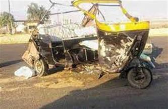 """مصرع سائق """"توك توك"""" في حادث تصادم مع سيارة ميني باص بمنية النصر"""