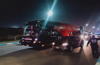 حافلة الأهلي تصل إلى ملعب مباراة سيمبا التنزاني