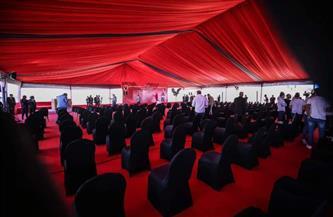 خيمة عملاقة وإجراءات احترازية استعدادًا لاحتفالية وضع حجر أساس استاد الأهلي
