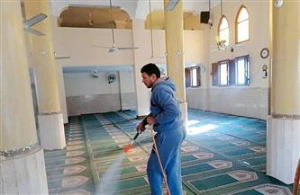 استمرار أعمال التعقيم والتطهير بدور العبادة والمنشآت العامة بكفر الشيخ