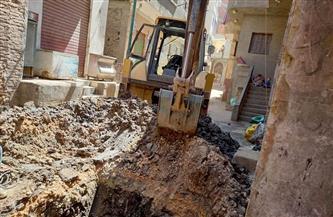 إصلاح خط مياه الشرب الرئيسي بقرية شباس الشهداء بدسوق
