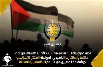 «حقوق الإنسان» بتنسيقية شباب الأحزاب تستنكر صمت المجتمع الدولي تجاه جرائم قوات الاحتلال على الأراضي الفلسطينية