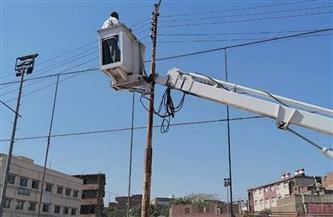 تركيب كشافات وصيانة لأعمدة الإنارة العامة في بعض قرى المحلة الكبرى