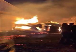 المعمل الجنائي يفحص آثار حريق ضخم التهم محطة تصدير موالح في منشأة القناطر