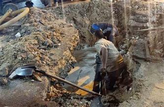 إصلاح كسر ماسورة مياه رئيسية بطريق المحمودية غرب الإسكندرية