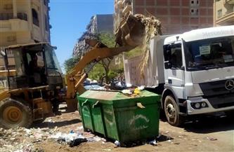 رفع 115 طن قمامة وتجمعات للأتربة من شوارع حي أول المحلة