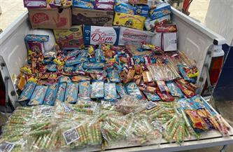 ضبط 3 آلاف عبوة بسكويت ولبان وشيكولاتة منتهية الصلاحية في أسواق الفيوم| صور