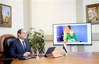 تفاصيل اتصال المستشارة الألمانية بالرئيس السيسي عبر تقنية الفيديو كونفرانس   صور