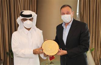 الخطيب في ضيافة رئيس الاتحاد القطري لكرة القدم