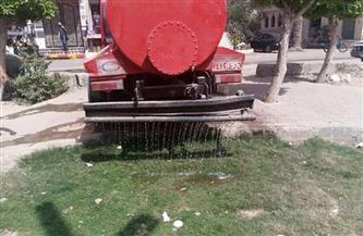غمر حدائق ومتنزهات كفر شكر بالمياه لمنع تجمعات المواطنين