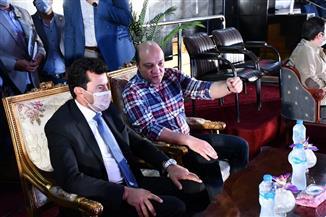 وزير الرياضة يشهد بروفة كأس العالم للجمباز الفني بصالة إستاد القاهرة