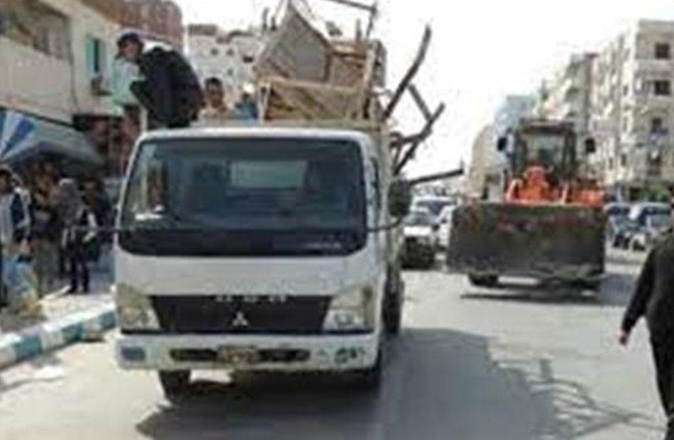 إزالة  إشغال طريق في مركز أبو حمص بالبحيرة