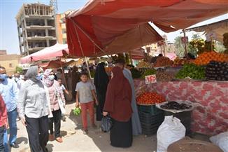 متابعة تنفيذ الإجراءات الاحترازية في أسواق الوادي الجديد| صور