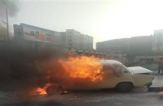 اشتعال النيران فى سيارة على كوبرى المعرض فى طنطا| صور