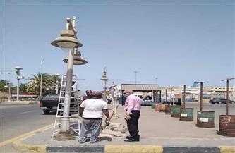 رئيس مدينة الغردقة يتفقد أعمال التطوير بالميناء وطريق المطار بالغردقة |صور