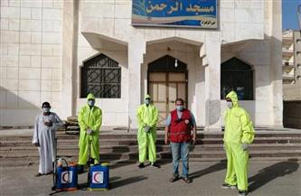 الهلال الأحمر يواصل حملات تطهير وتعقيم ورش مساجد الغردقة | صور