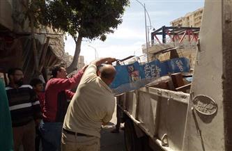 رفع 14 حالة إشغال طريق في حملة بشوارع وسط الإسكندرية