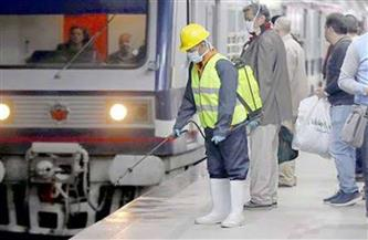 شركة المترو تواصل أعمال التطهير والتعقيم للمحطات والقطارات بالخطوط الثلاثة| صور