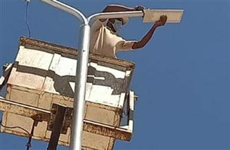 حملة صيانة لكشافات وأعمدة الإنارة العامة في شوارع حي أول طنطا