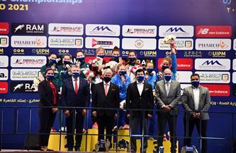 وزير الرياضة يُتوج الفائزين في منافسات فردي وفرق السيدات للخامسى الحديث ببطولة العالم