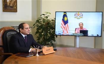 تفاصيل مباحثات الرئيس السيسي ورئيس وزراء ماليزيا عبر الفيديو كونفرانس |صور