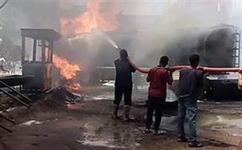 السيطرة على حريق هائل بمحطة وقود بالمنوفية  صور