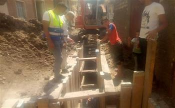 متابعة تنفيذ مشروع الصرف الصحي بقرية الصافية بدسوق كفرالشيخ