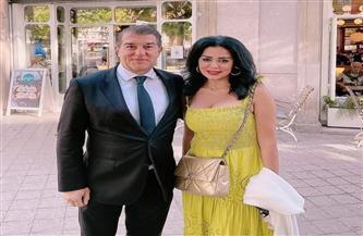 رانيا يوسف تنشر صور لقائها مع رئيس نادي برشلونة| صور