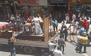 حملة لإزالة إشغالات الباعة الجائلين من شارع خالد بن الوليد بالإسكندرية |صور