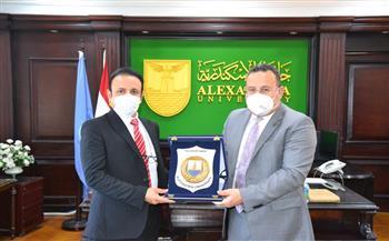 رئيس جامعة الإسكندرية يستقبل الملحق الثقافي السعودي لبحث سبل التعاون| صور