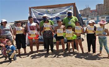 حملة توعية لمياه الإسكندرية لمصطافين شاطئ السرايا العام   صور