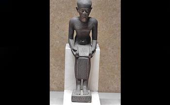 """تمثال للمعبود """"إيمحوتب"""" مصنوع من البرونز قطعة شهر يونيو بمتحف كفر الشيخ"""