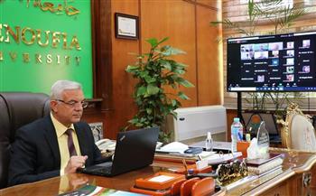 رئيس جامعة المنوفية يشهد ندوة عن المساق الجامعي الرقمي أونلاين