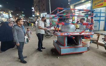 حملة مسائية لرفع الإشغالات بمدينة الباجور بمحافظة المنوفية |صور