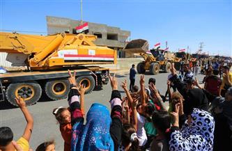 أبناء فلسطين يستقبلون الأطقم والمعدادت المصرية في قطاع غزة بهتاف «تحيا مصر» |صور