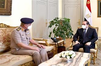 الرئيس السيسي يستقبل القائد العام للقوات المسلحة وزير الدفاع والإنتاج الحربي